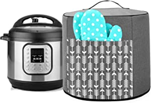 Yarwo Pressure Cooker Dust Cover Compatible with 6 Quart Instant Pot, Heavy Duty Nylon Cover with Pockets and Wipe Clean Liner, Gray with Arrow