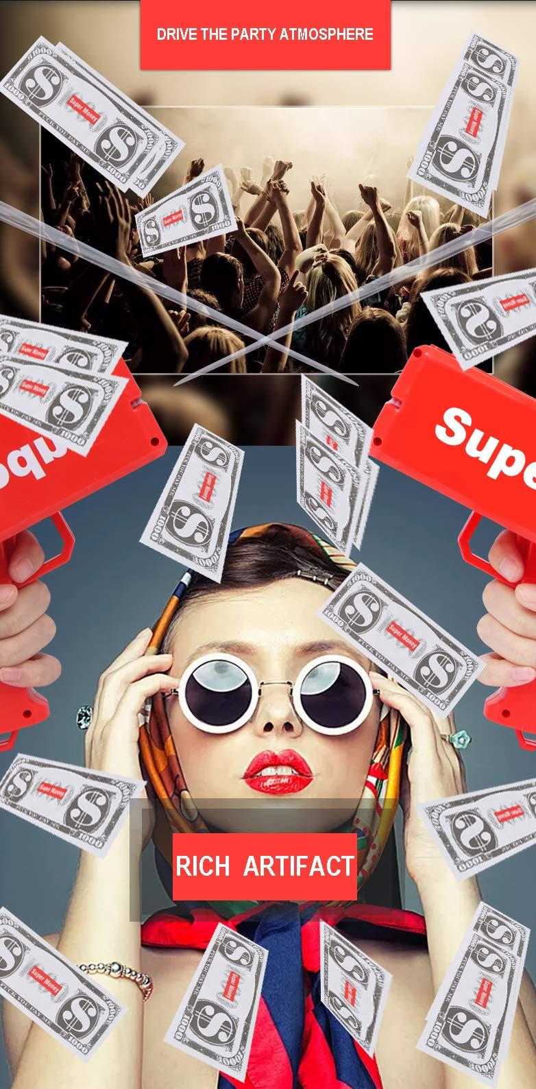 Sopu Make it Rain Money Gun Paper Playing Spary Money Toy Gun, Prop Money Gun with 100 Pcs Play Money Cash Gun Party Supplies (Money Gun) by Sopu (Image #8)
