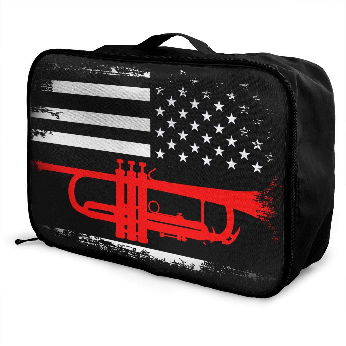 YueLJB Trumpet American Flag Lightweight Large Capacity Portable Luggage Bag Travel Duffel Bag Storage Carry Luggage Duffle Tote Bag