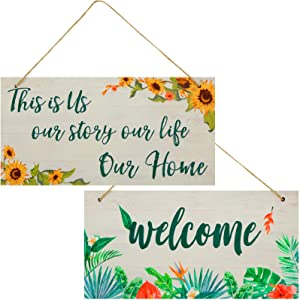 Jetec 2 Pieces This is Us Our Life Our Story Wood Signs Welcome Rectangular Farmhouse Signs Rustic Hanging Signs for Home Outdoor and Indoor Entryway Signs, 12 x 6 Inch