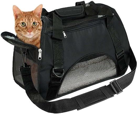 EVELTEK Bolsa de Transportín para Perros, Cómodo Bolso de Hombro Portador para el Transporte de Perro & Gato en Avión, Coche o en el Tren (Negro): Amazon.es: Productos para mascotas