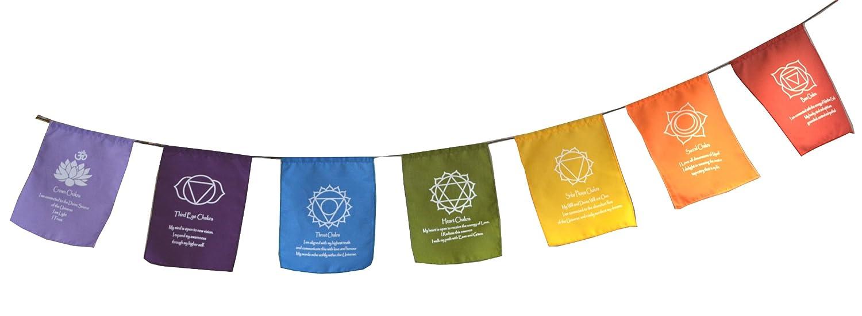 Rainbow Multi Colour Chakra Symbol Mantra Affirmation Prayer Flags