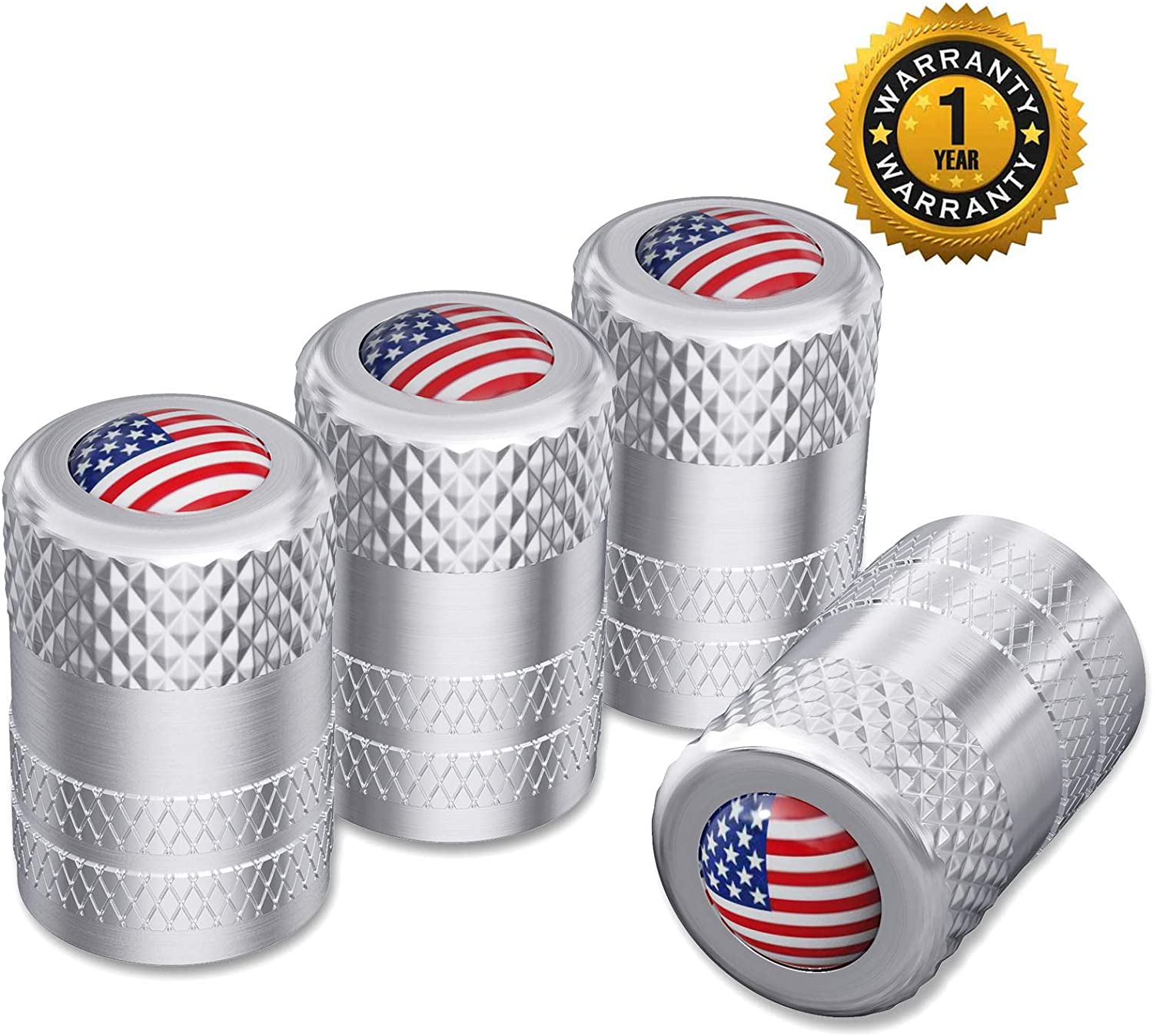 Tocatus Valve Stem Cap Emblem Copper with Rubber Ring Keychain Tire Wheel Rim Dust Cover American Flag Black 5 Pack