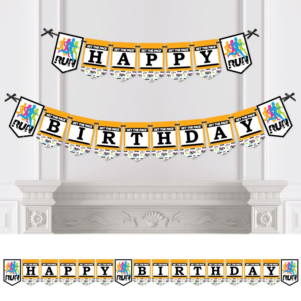 Big Dot of Happiness Set The Pace - Running - Birthday Party Bunting Banner - Birthday Party Decorations - Happy Birthday