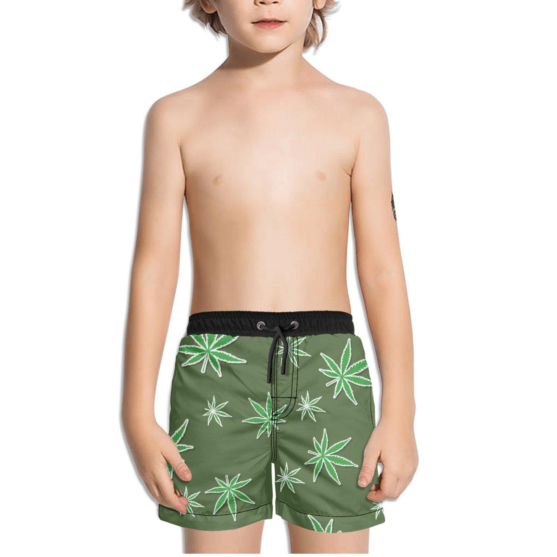 Ouxioaz Boys Swim Trunk Cannabis Leaf Marijuana Plant Beach Board Shorts