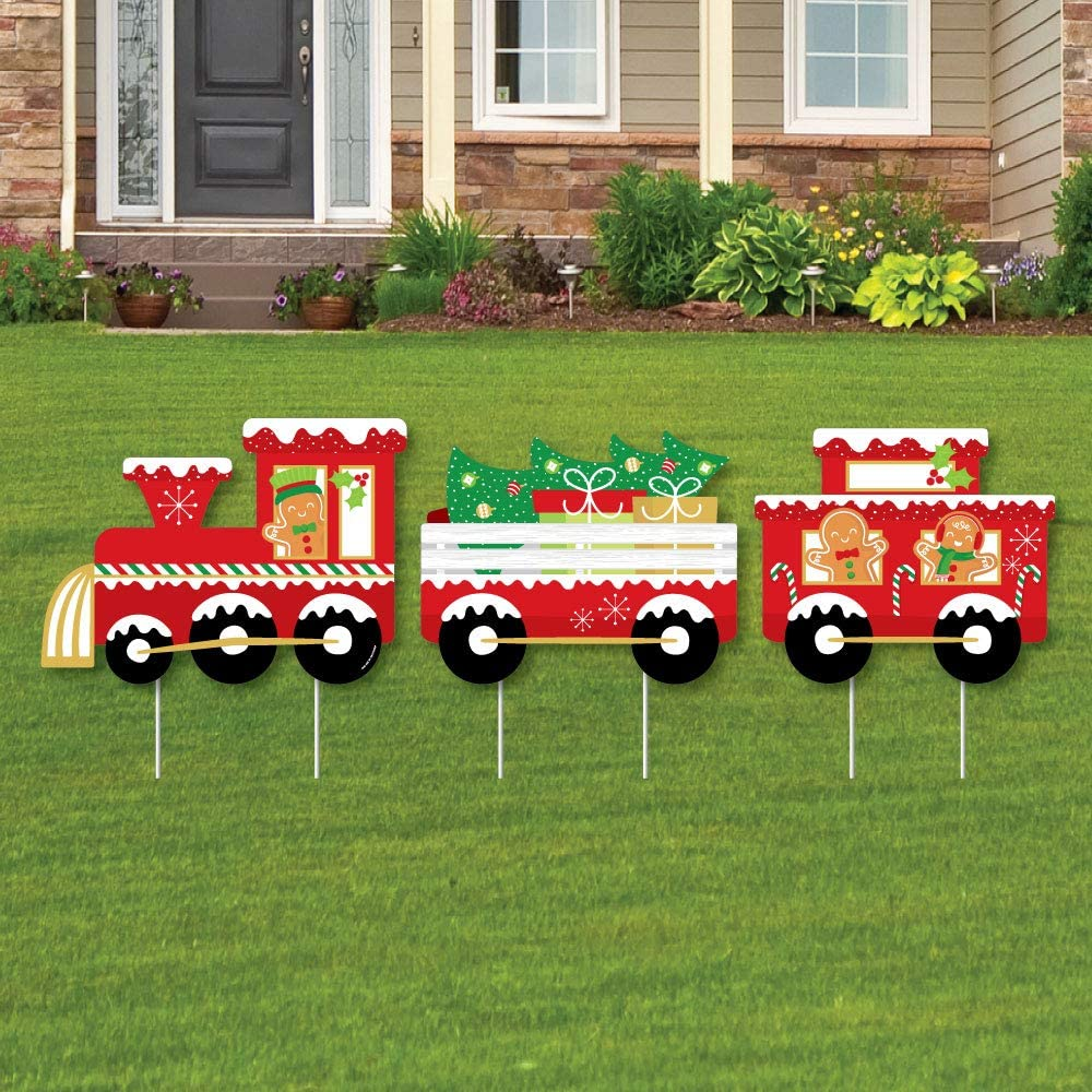 Big Dot of Happiness Christmas Train - Outdoor Lawn Sign Decorations with Stakes - Holiday Party Yard Display - 3 Pieces