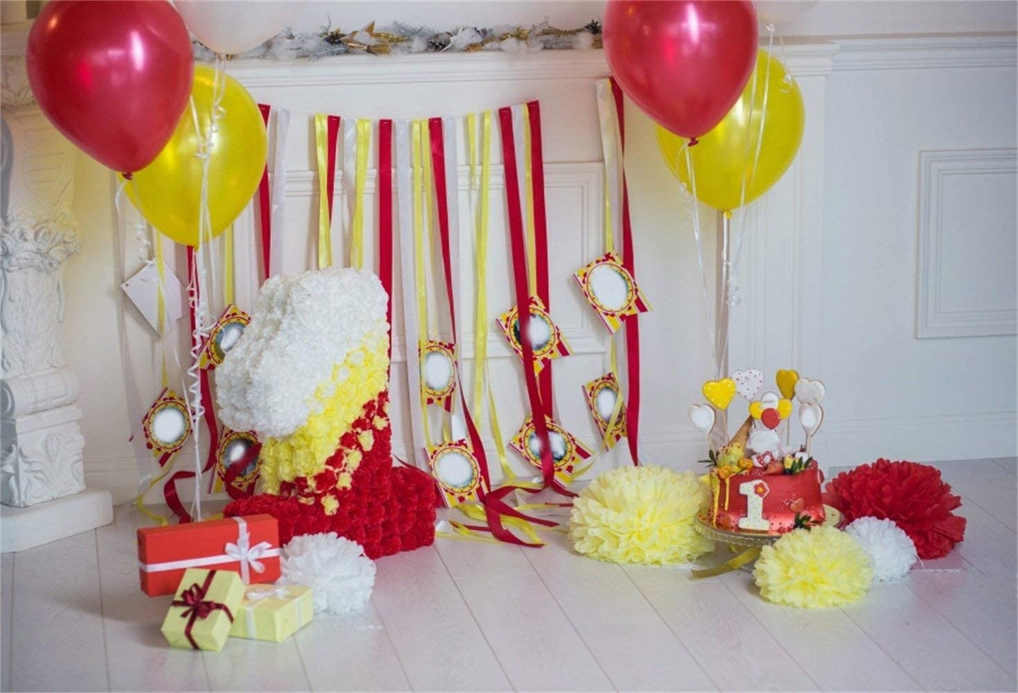 Indoor Babys 1st Birthday Photo Booth Backdrop 10x7ft Vinyl Red Yellow Balloons Floral Number1 Tassels Paper Poms Wooden Floor Photography Background Dessert Table Banner Cake Smash