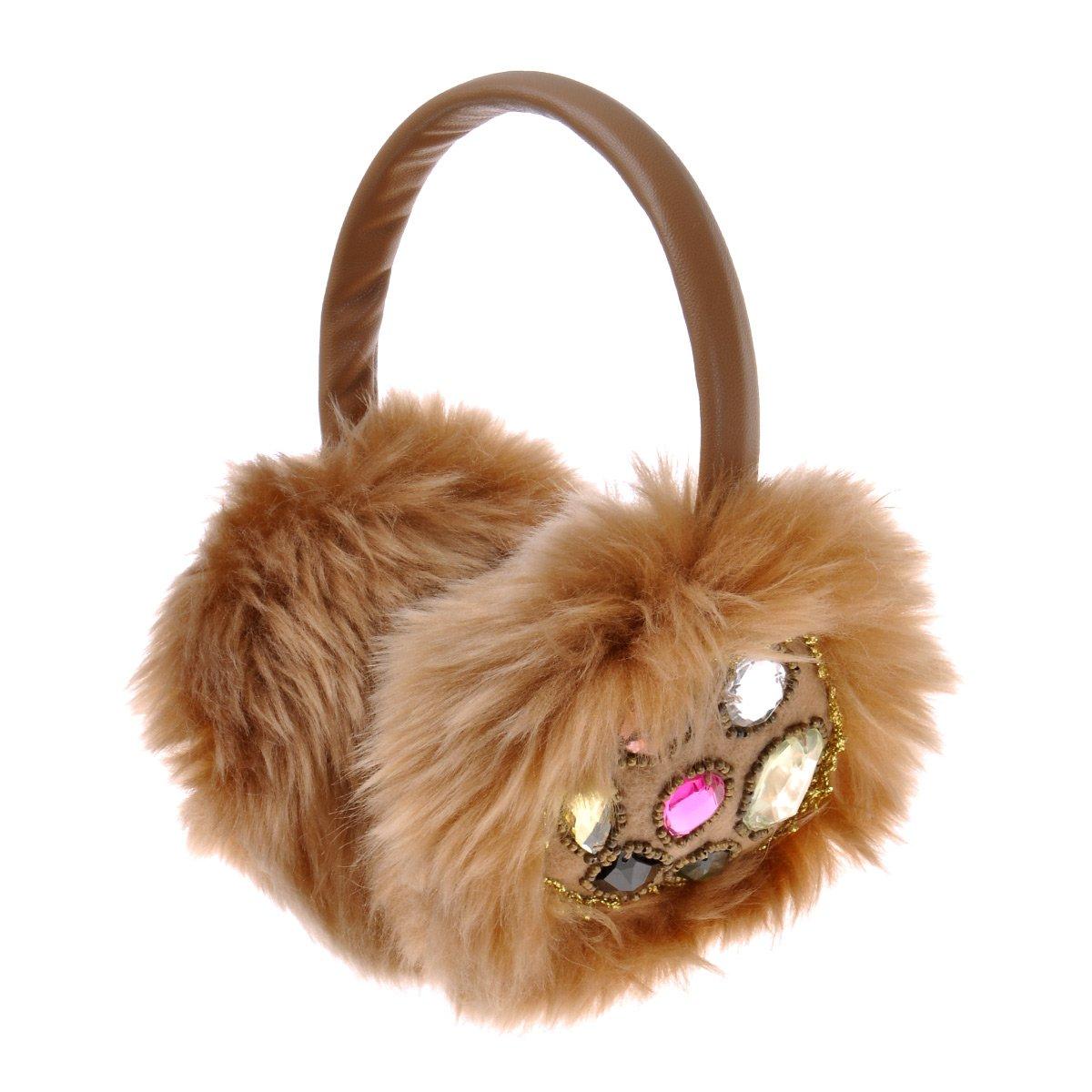 ZLYC Women Hand Sewing Fashion Rhinestone Embroidery Band Fur Earmuffs Earwarmer, Brown
