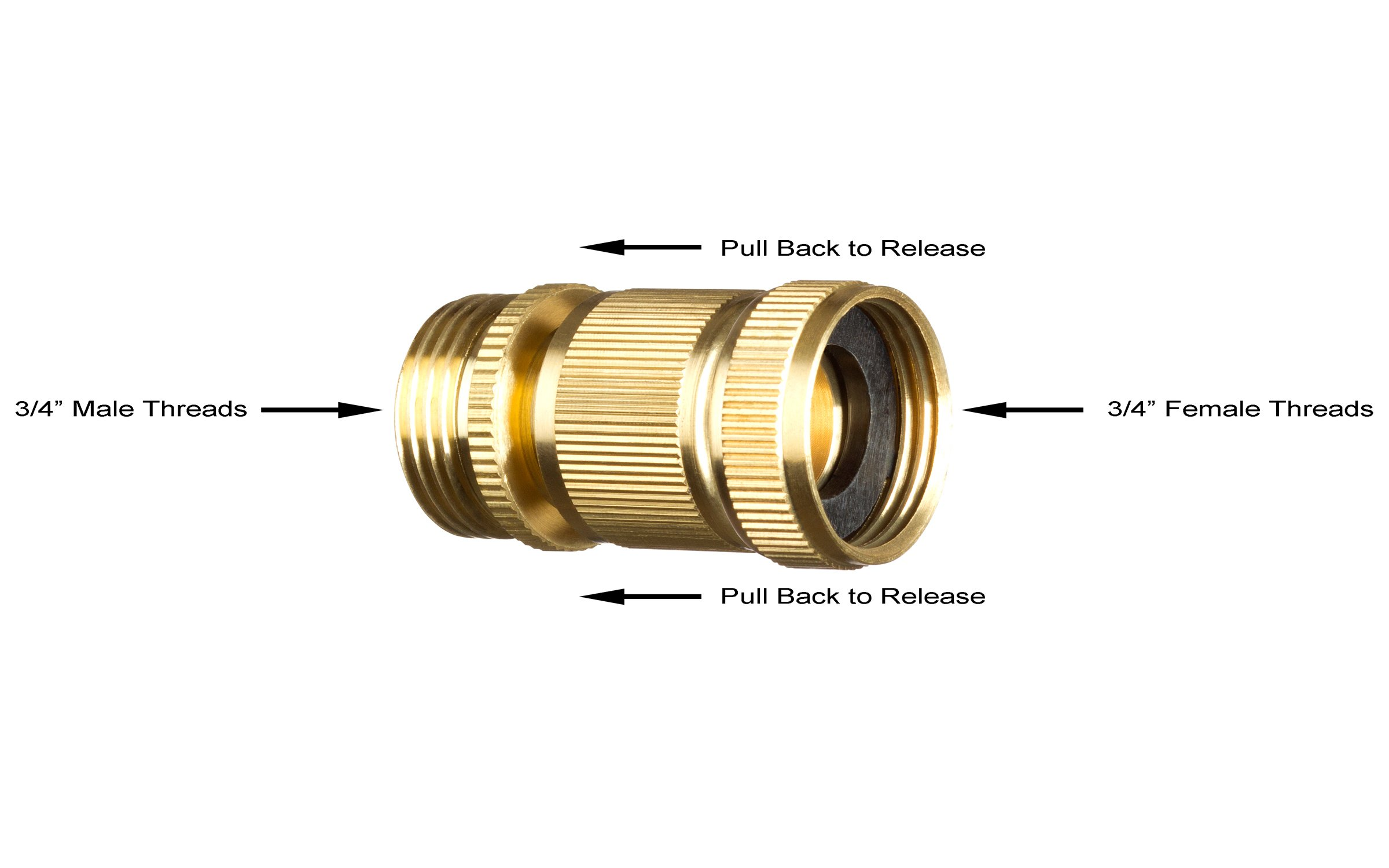New Garden Hose Quick Connector. ¾ inch GHT Brass Easy Connect Fitting 4-Piece Set Male and Female by GORILLA EASY CONNECT (Image #4)