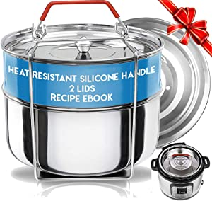 Silva Stackable Pressure Cooker Accessories Compatible with Instant pot 6 qt + 2 Lids + Safety Handle+ Recipe E-Book - Pot in Pot Food Steamer Inserts Pans