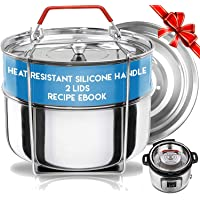 Silva Stackable Pressure Cooker Accessories Compatible with Instant pot 6 qt + 2 Lids + Safety Handle+ Recipe E-Book…