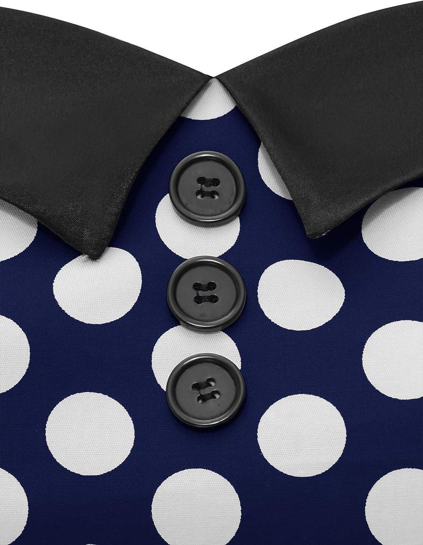/à Pois Dressystar Robe de Bal Polka Vintage pin-up /à Audrey Hepburn 50s 60s Rockabilly Halter,Dos Nu