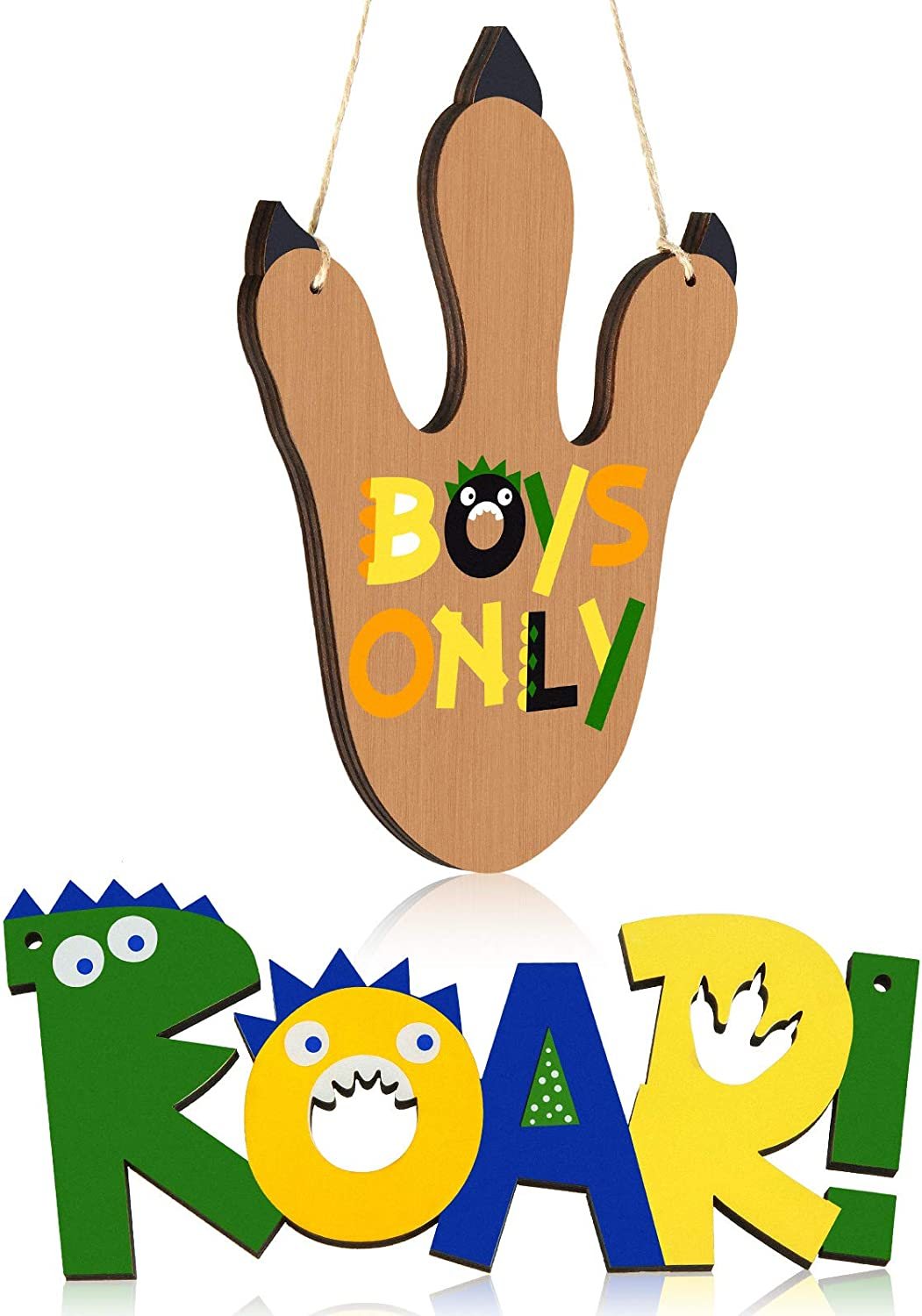Jetec 2 Pieces Dino Paw Wooden Wall Decor Boys Only Roar Wood Wall Decoration Dinosaur Hanging Wood Decor for Boys Kids Room Birthday Party