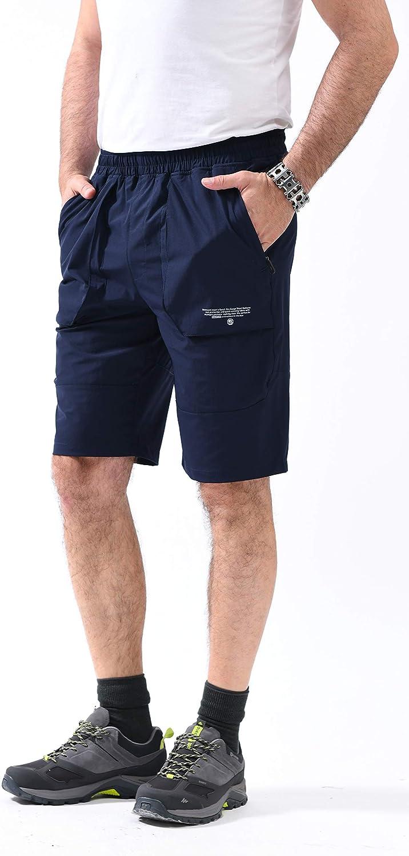 svacuam Mens Lightweight Quick Dry Athletic Elastic Waist Training Hiking Shorts