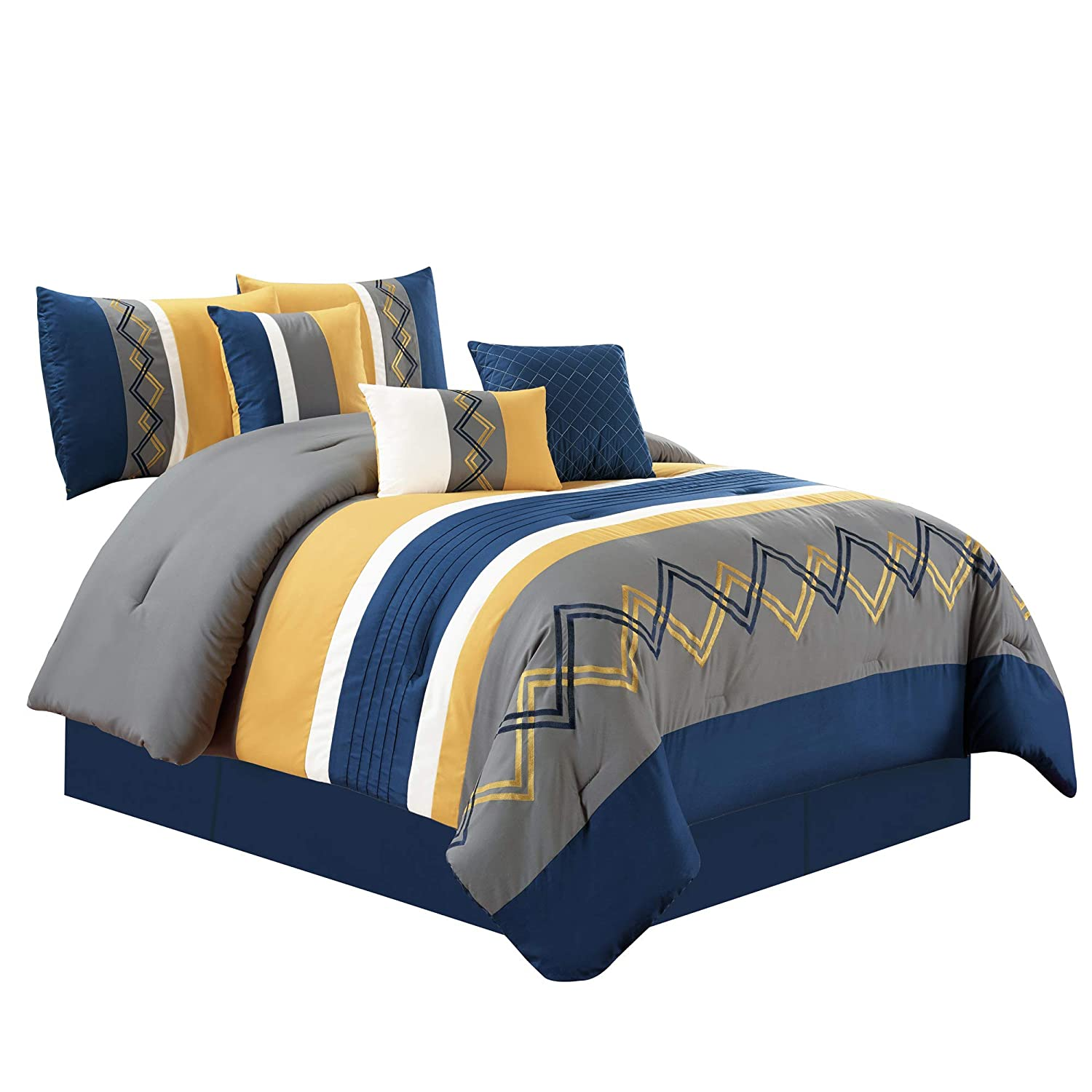 Chezmoi Collection Arden by 7 Pieces Modern Pleated Stripe Embroidered Zigzag Bedding Comforter Set (King, Navy/Gray/Yellow/Off-White)
