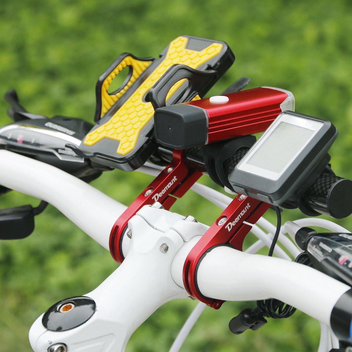 DEEMOUNT Bike Handlebar Extension Rack 202mm Bicycle Double Clamp Bracket Carbon Fiber Extender Accessories Flashlight Lamp Phone Mount Bracket Stand Holder Space Saver - Red by DEEMOUNT (Image #8)