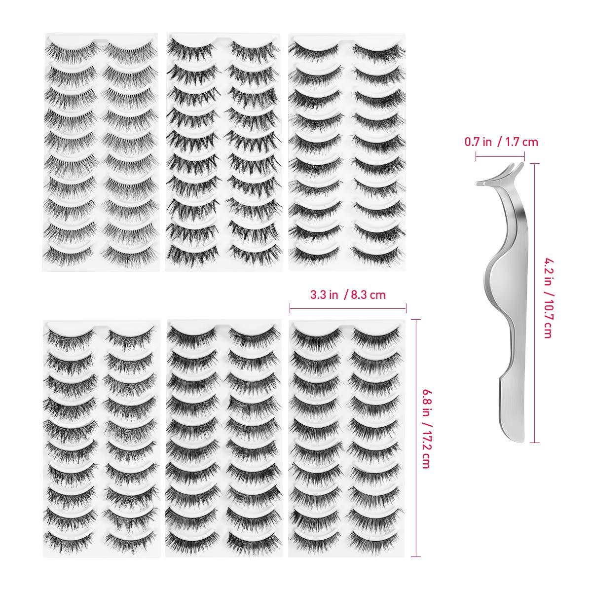 False Eyelashes Natural Fake Eyelashes Handmade Reusable Pack with Tweezer (60 Pairs)