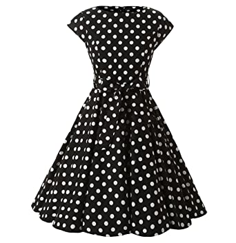 6d2e47d88d81d DAROJ Women 1950's Capshoulder Polka Dots Rockabilly Full Circle Swing Dress  S Black