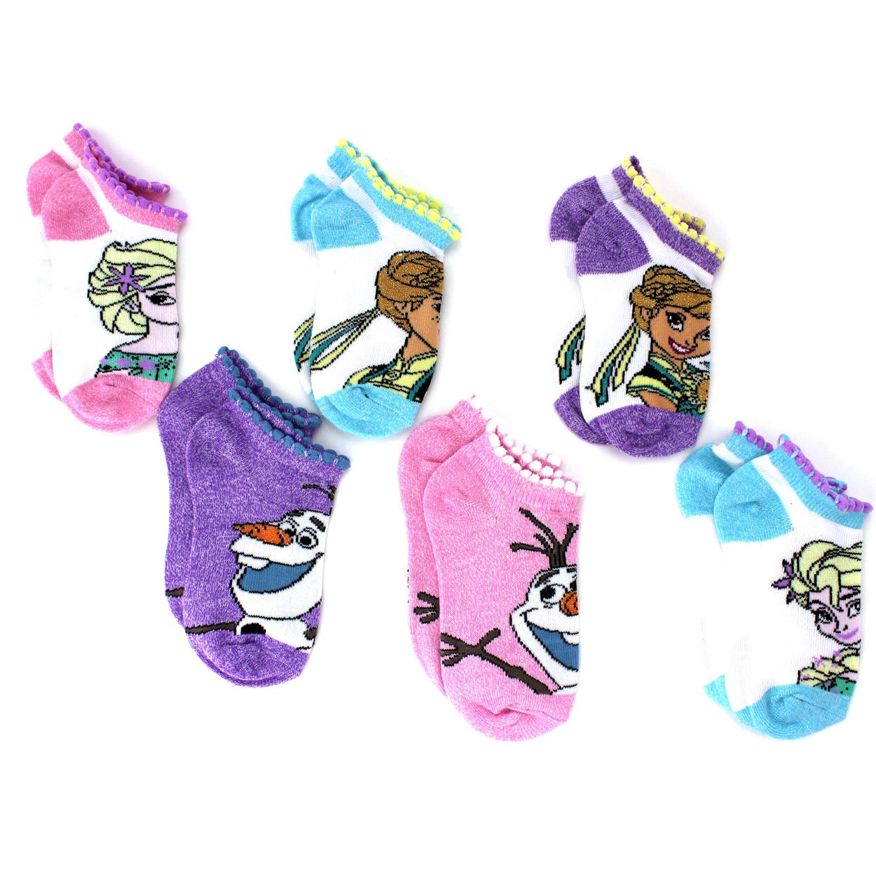 Frozen Anna Elsa Olaf Girls Teen Adult 6 pack Socks