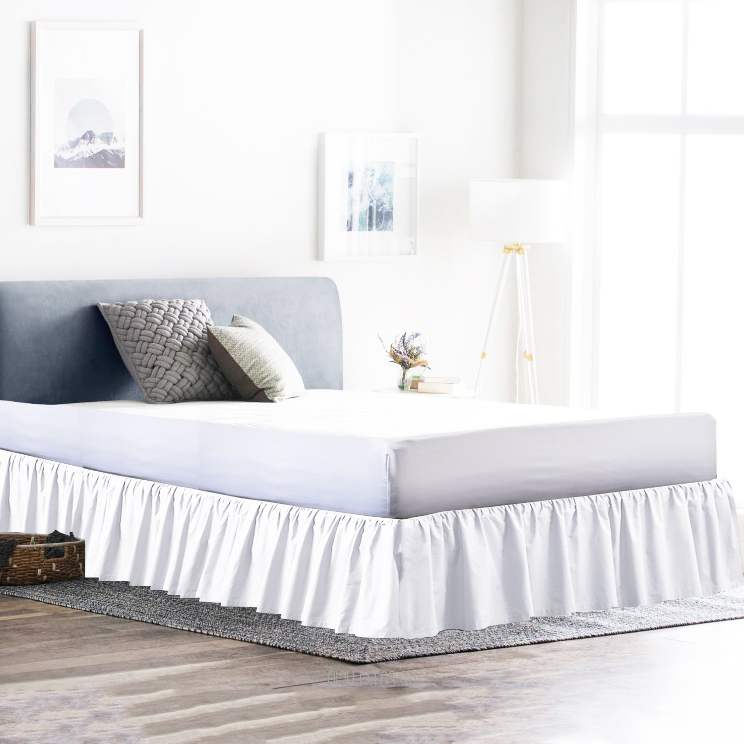 Dust Ruffle Bed Skirt 100% Microfiber Bed Wrap with Platform (+18 Inch Drop)- Easy Fit Gathered Style 3 Sided Coverage (Queen, White)