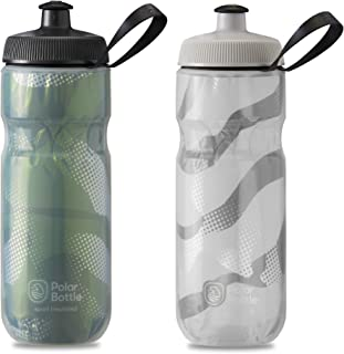 product image for Polar Bottle 2 Pack Contender Sport Insulated 20 Oz Water Bottle - Olive/Silver and White/Silver Combo - BPA Free, Sports Water Bottle with Tri-Layer Insulation, Leak Proof Sport Cap and Handle