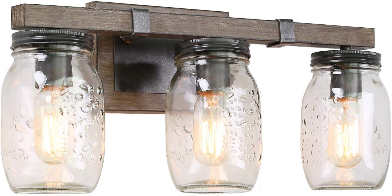 Lnc 21 Large Bathroom Light Fixtures Farmhouse Mason Jar Lights With Faux Wood Finish L21 X W6 X H9 Brown Amazon Com