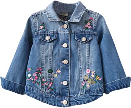 Baby Girls Rose Embroidery Button Down Jeans Jacket Top