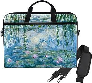 WIHVE Monet Water Lilies Willow Floral Spring Unisex Laptop Sleeve Messenger Shoulder Bag for 14-13 Inch Computer