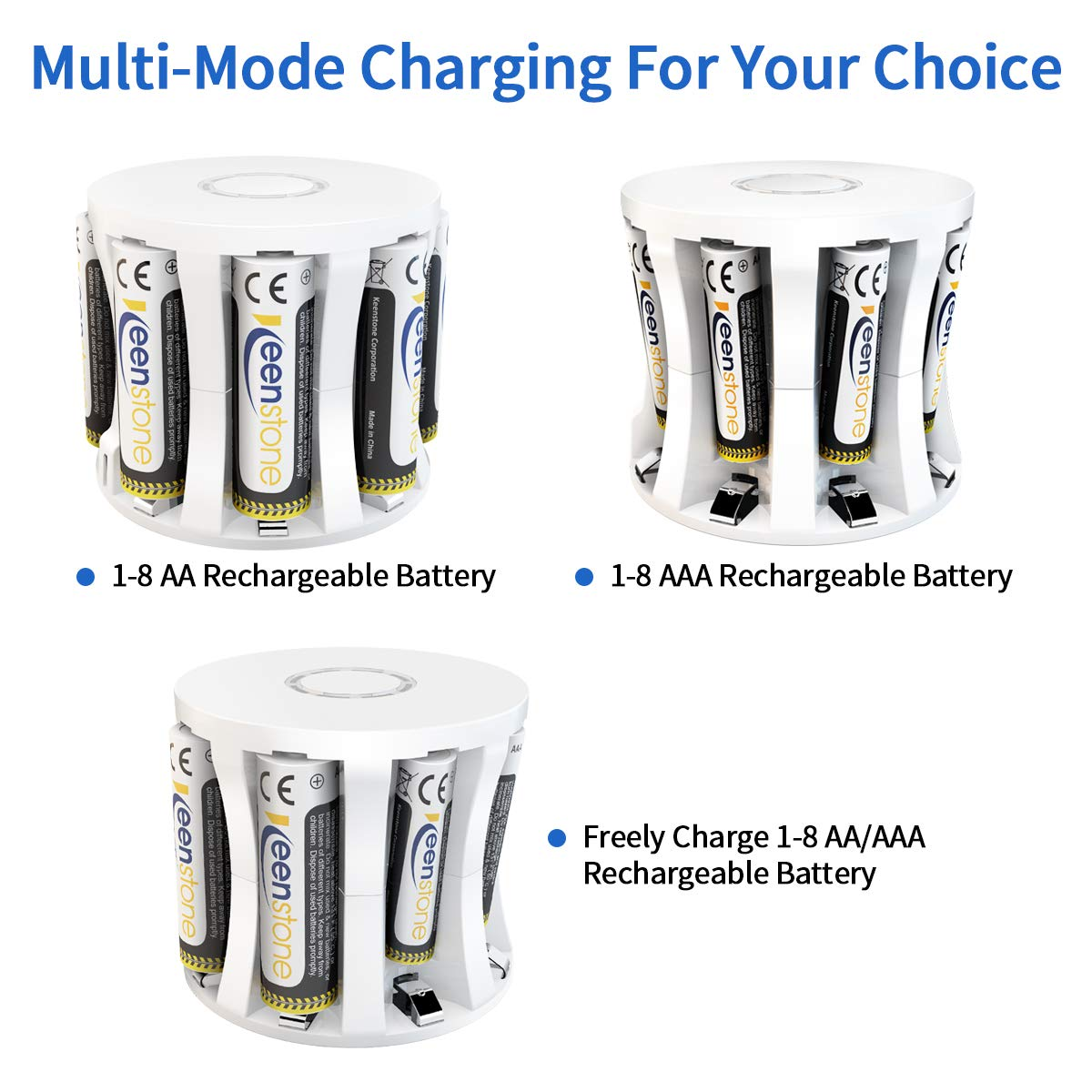AAA Rechargeable Batterys and Charger, Keenstone Ni-MH AAA 1100mah 1.2v Battery with High Capacity, Low Self Discharge and 8-Slot Battery Charger for AA AAA Batteries (8 Pack)
