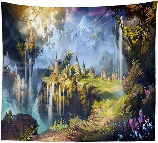 Amazon Co Jp タペストリー 幻想 ファンタジー イラスト アート 絶景 風景 大きい 部屋 飾り 背景布 壁 インテリア 布 デザイン4 ホーム キッチン