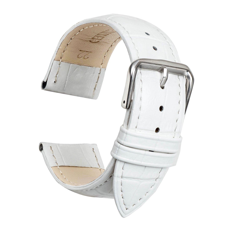 Ullchro 腕時計ストラップ 本革 縁ステッチ 竹柄– 12 14 16 18 19 20 21 22 24 mm 12mm ホワイト B077M8Y1P5 12mm|ホワイト ホワイト 12mm