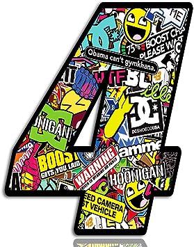 Biomar Labs Startnummer Nummern Auto Moto Vinyl Aufkleber Sticker Bomb Stickerbomb Motorrad Motocross Motorsport Racing Nummer Tuning 4 N 204 Auto
