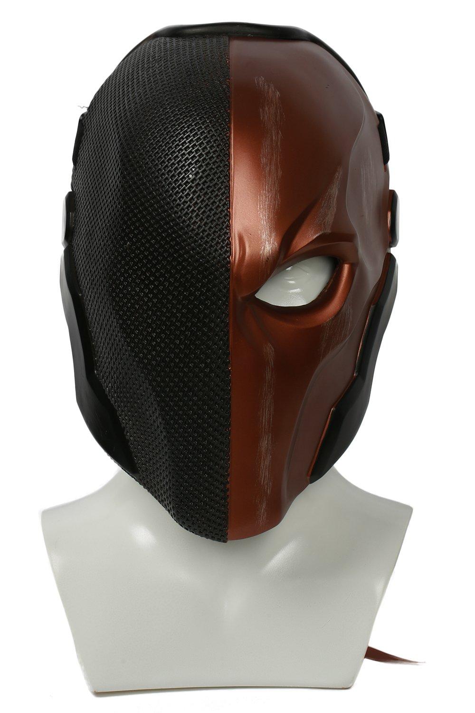 Wellgift Halloween Deathstroke Maske Helm Erwachsene Cosplay Kostüm Herren Ritter Harz Gesichtsmaske Replik Fancy Dress Merchandise Zubehör