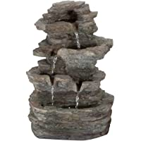 Pure Garden Tiered Stone Tabletop Fountain