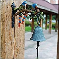 Cast Iron Door Bell Antique Decor Bell Cast Iron Door Bell Retro Iron Hanging Door Bell Wall Mounted for Home Wall…