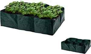 Raised Garden Planter Fabric Bed,6 Divided Grids Durable Rectangle Container 35 Gallon Planting Grow Bag Grow Pot for Carrot Onion Herb Flower Plants Potato Grow Bags Garden Vegetable Herb Growing