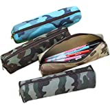 Camouflage Pencil Cases Zipper Pencil Pouch Canvas Pencil Bag Cosmetic Brush Bag, Set of 4