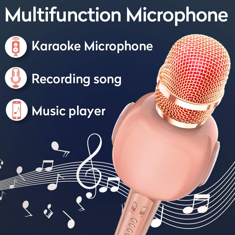 KVDUKOA Karaoke Microphone, Portable Handheld Wireless Bluetooth Karaoke Mic Machine for Home, Party, Birthday Gifts and Kids Girls Toy (Rose Gold) by KVDUKOA (Image #2)