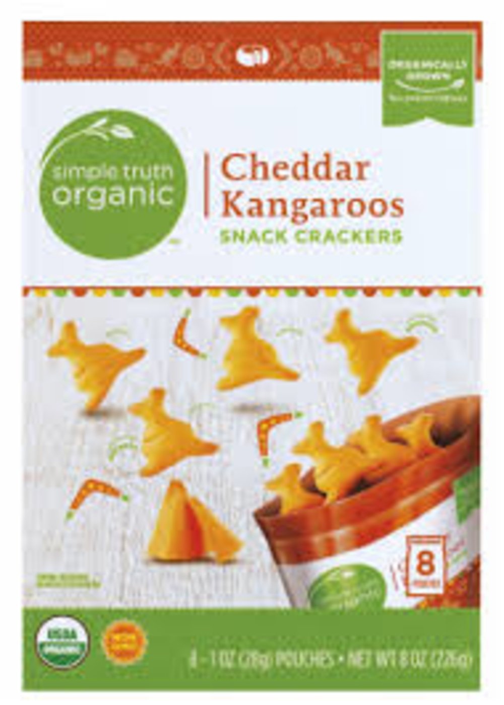 Simple Truth Organic Cheddar Kangaroos Snack Crackers 6.6 Ounce (Pack of 3)