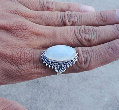Elegant Ring 925 Sterling Silver Handmade Ring Natural Great Bezel Rainbow Moonstone Ring