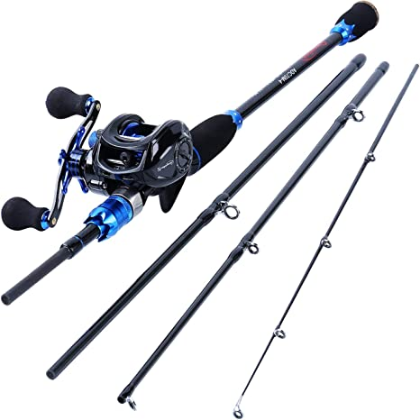 Sougayilang Fishing Reel and Rod Combos,24 Ton Carbon Fiber Fishing Poles with Baitcasting Reel,7.0:1 Gear for Travel Freshwater