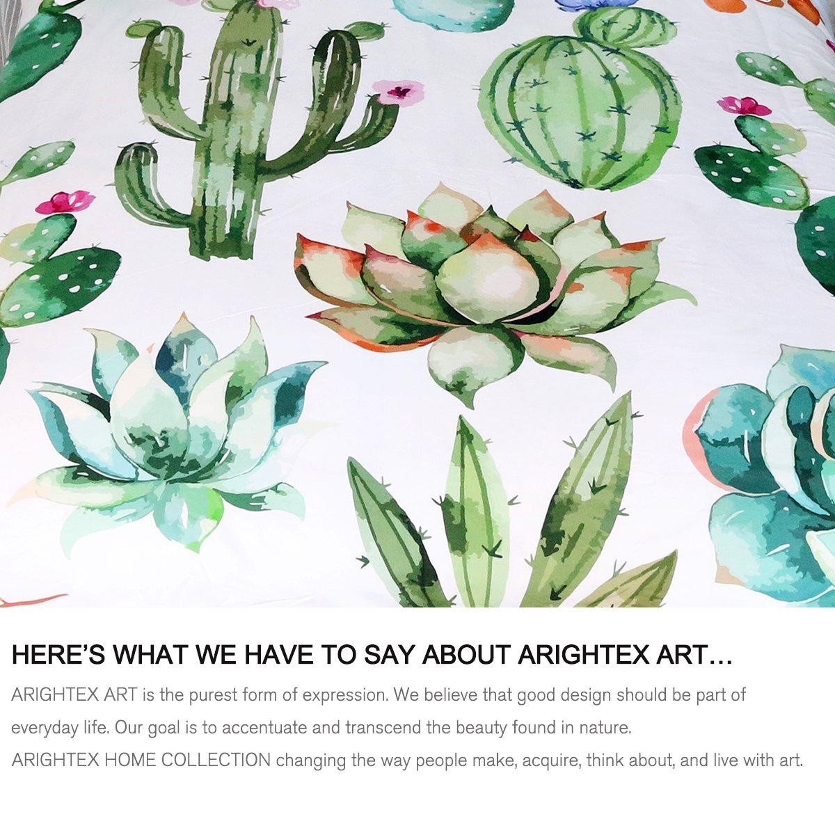 Twin Kingtex ARIGHTEX Cactus Bedding Summer Plant Succulent Bedspread 2 Piece Kids Girls Dorm Green Natural Duvet Cover