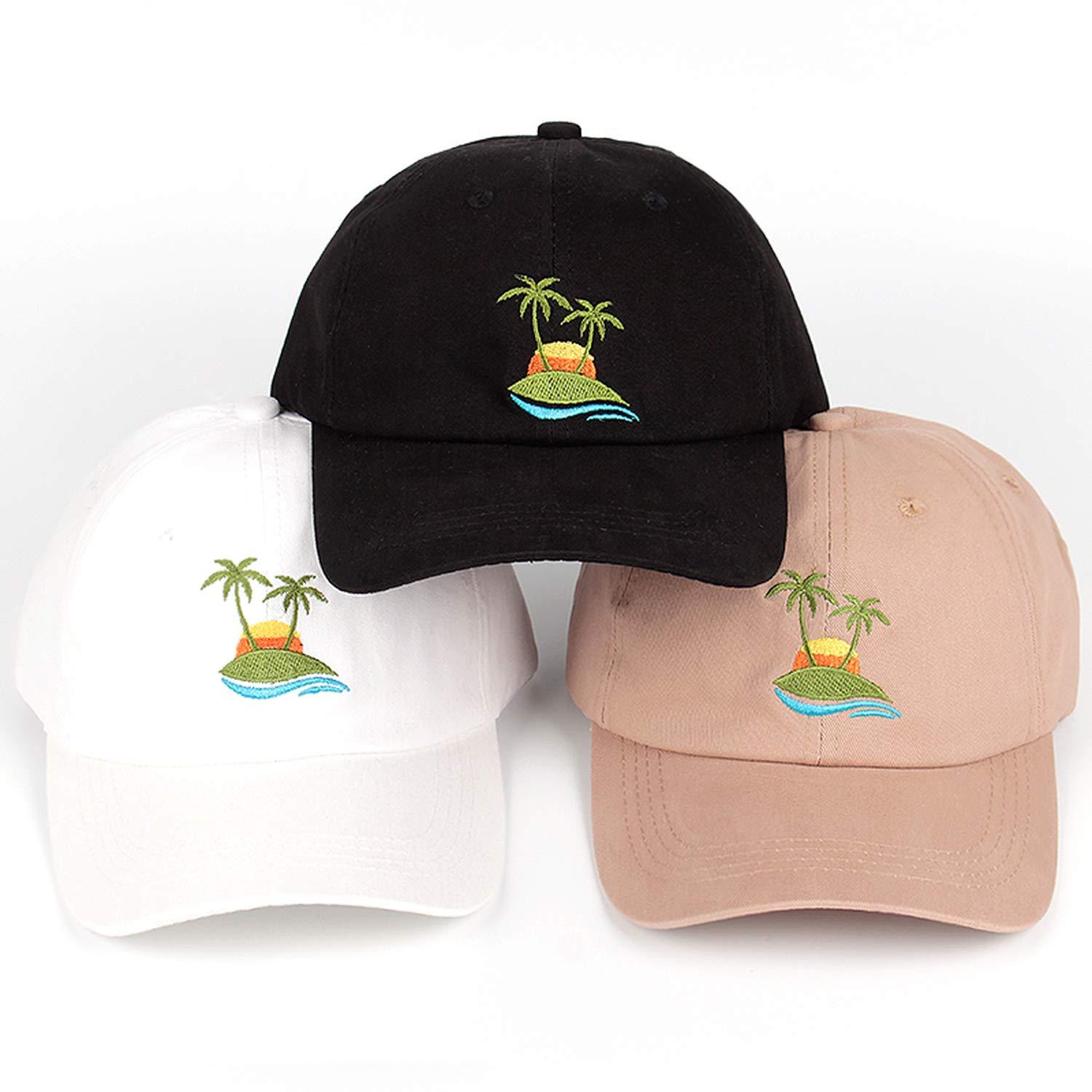 New Embroidery Palm Trees Curved Dad Hat Beach Sunrise Baseball Cap Coconut Trees Hat Strapback Hip Hop Cap