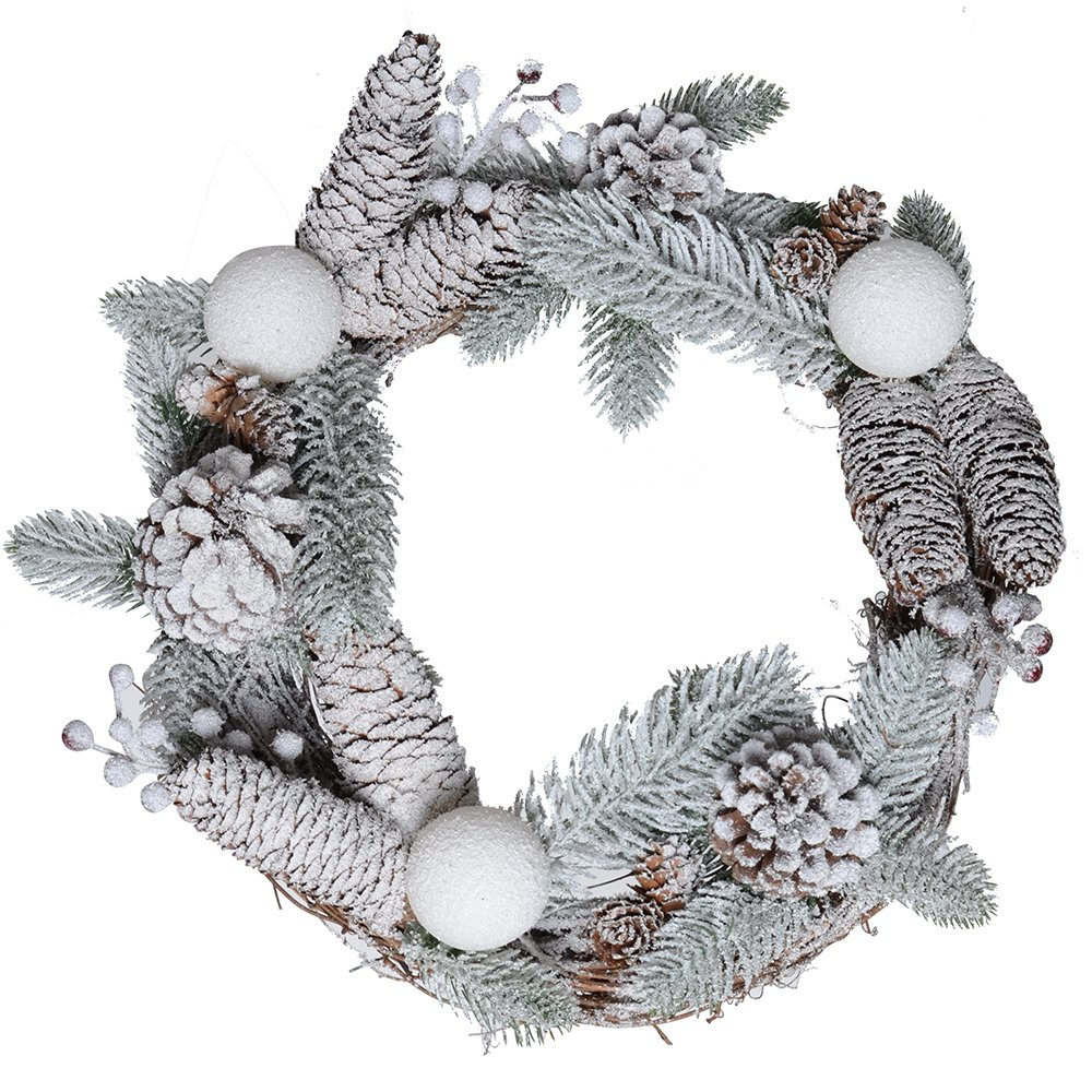 Flocked Snow Pine Cones & Christmas Berries Garland Wreath