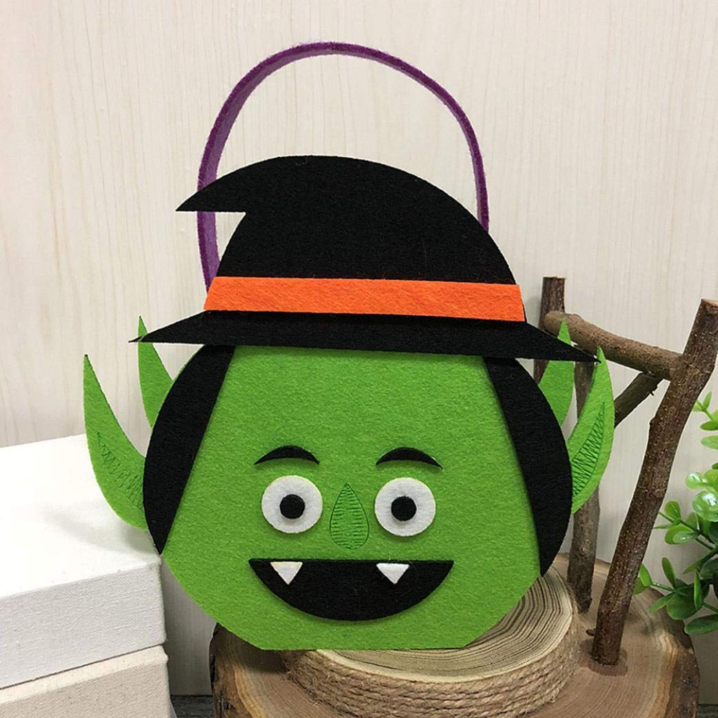 Halloween Pumpkin Candy Bags Kids Cute Trick Treat Tote Bags Party Storage Large Bags (A)