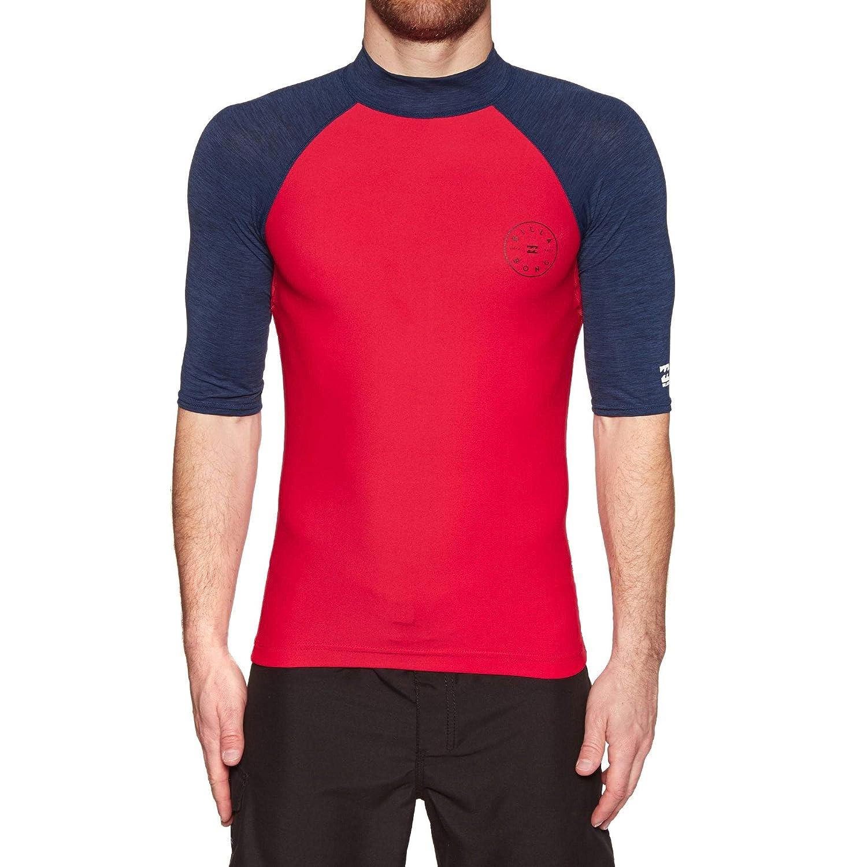 BILLABONG Mens Rotohand Short Sleeve Rash Vest Top Red
