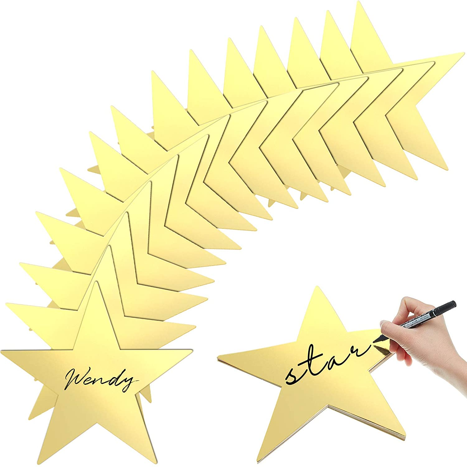 Gold Star Cutouts Double Printed Paper Stars Decoration for Wedding Party Supplies, 11 Inches (24)