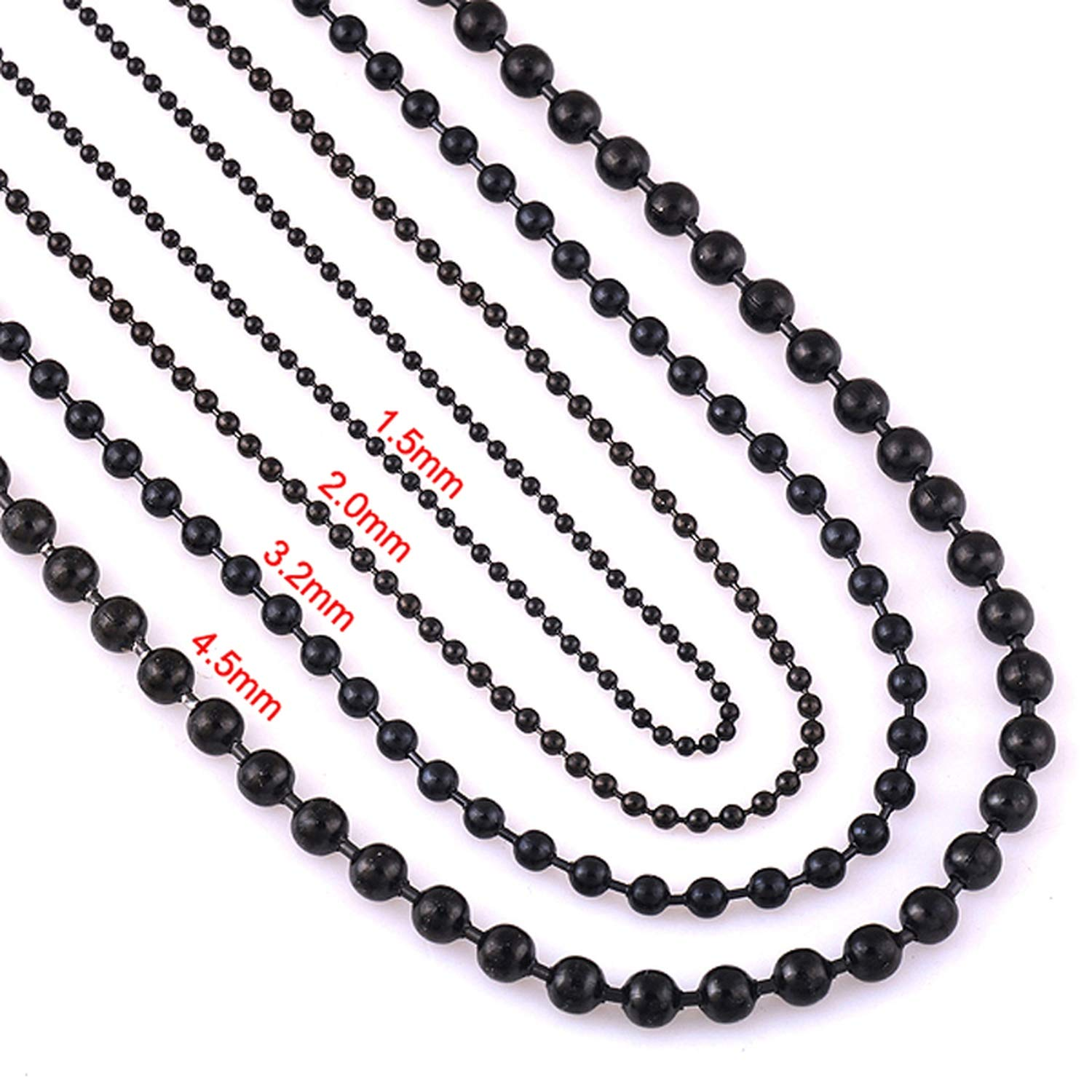 Friendshiy Width 1.5mm//2.0mm//3.2mm//4.5mm Black Stainless Steel Ball Chain for Charm Pendant Waterproof Match Rolo Chain Necklace Wholesale