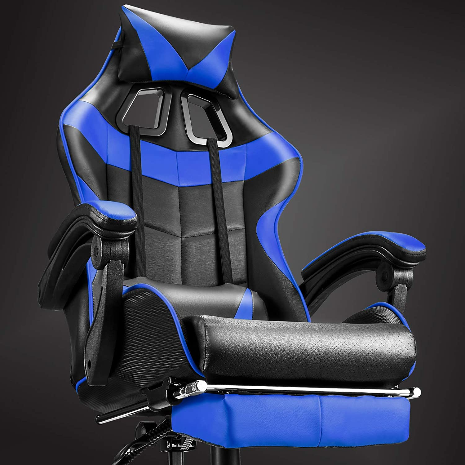 Soontrans High Back Computer Chair,Gaming Chair,Ergonomic Racing Style PC Office Chair,Desk Chair with Headrest Lumbar Support Footrest Adjustable Recliner Chair for Home,Office,Gaming Room (Blue)