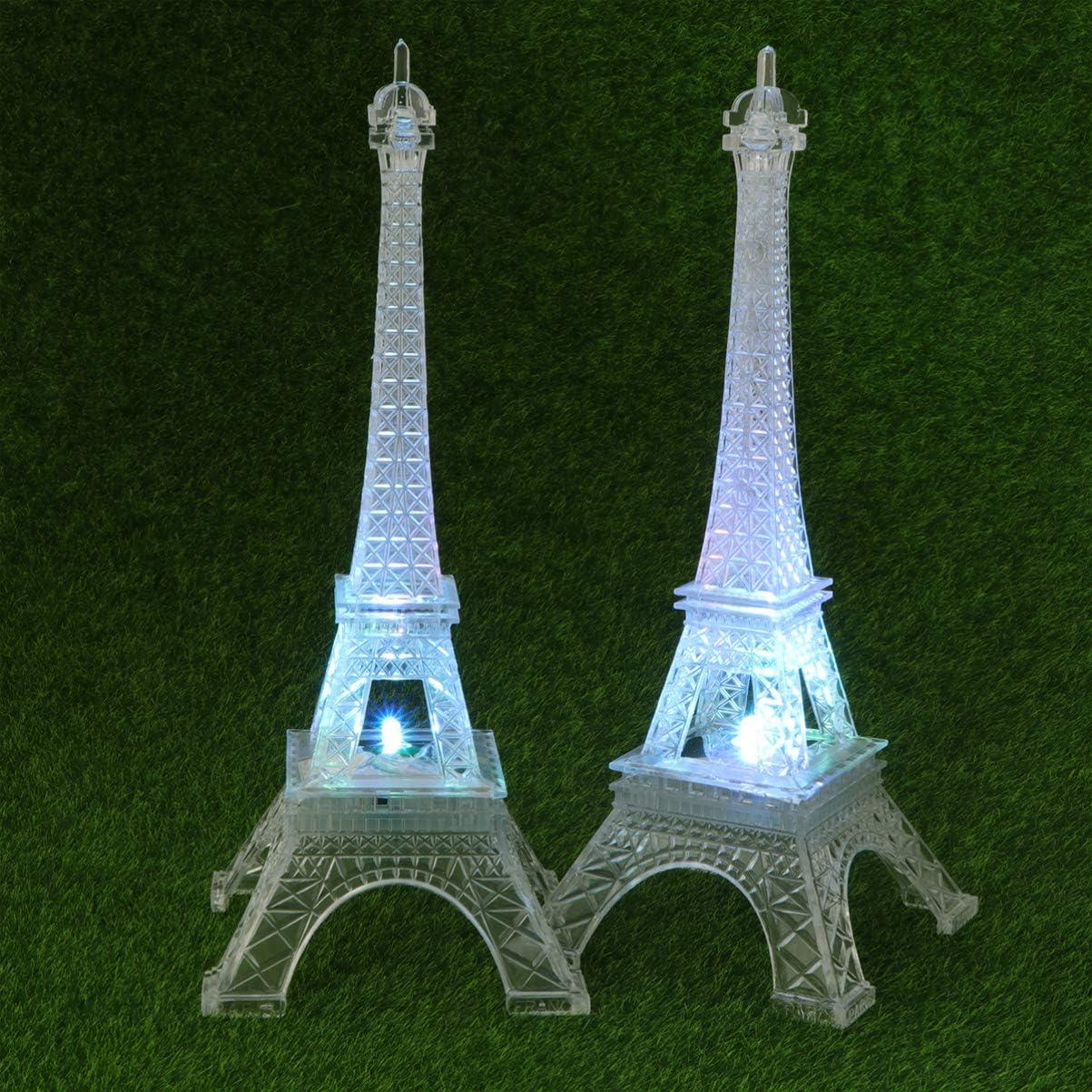 OSALADI 2 Piezas Luces de Noche de la Torre Eiffel l/ámpara de Mesa led l/ámpara Colorida Adorno para Sala de Estar Dormitorio Iluminado Pastel Topper figuritas